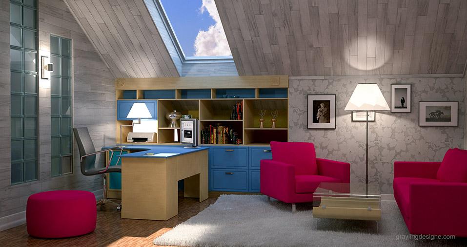 Дизайн проект детской комнаты в мансардном помещение.