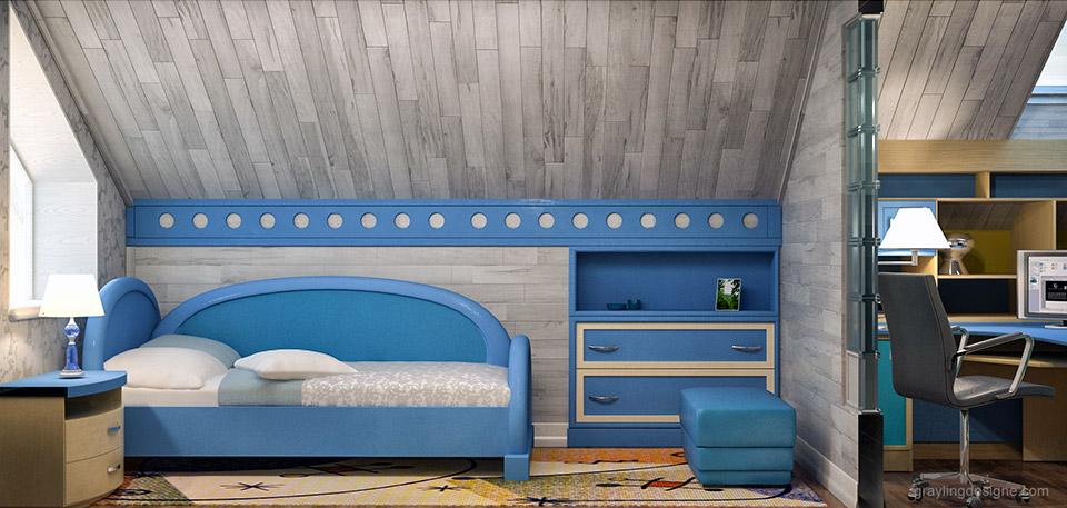 Проект детской комнаты в мансардном помещение.