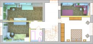 Планировочное решение интерьера второго этажа