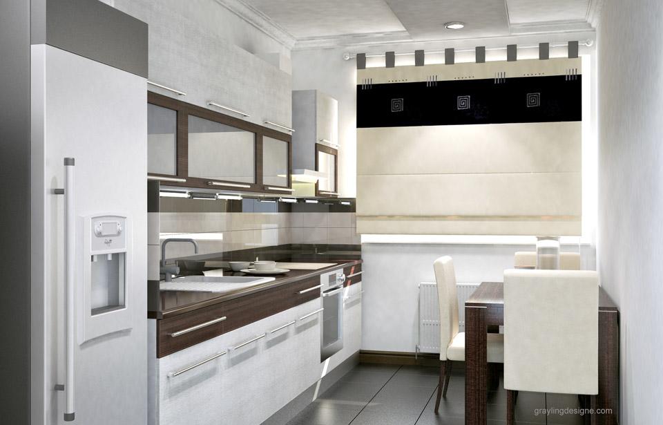 Дизайн проект кухни двухкомнатной квартиры