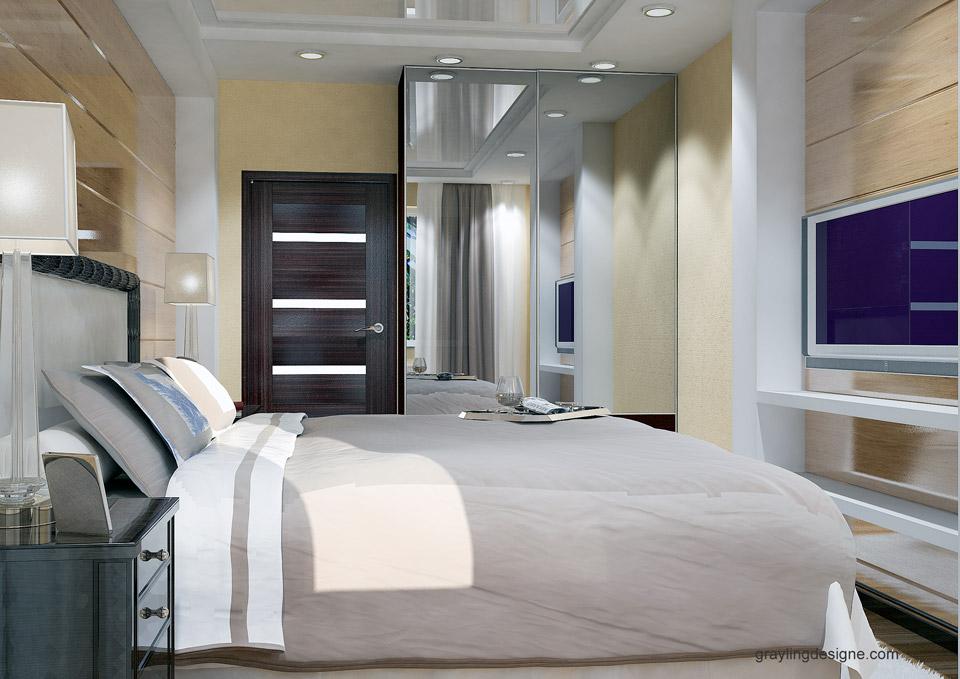 Визуализация проекта спальни двухкомнатной квартиры