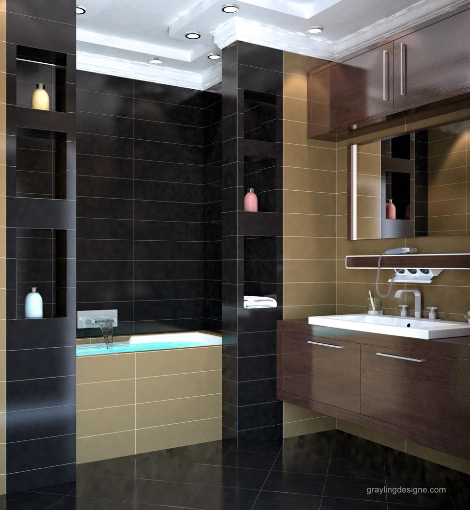Дизайн проект ванной комнаты двухкомнатной квартиры