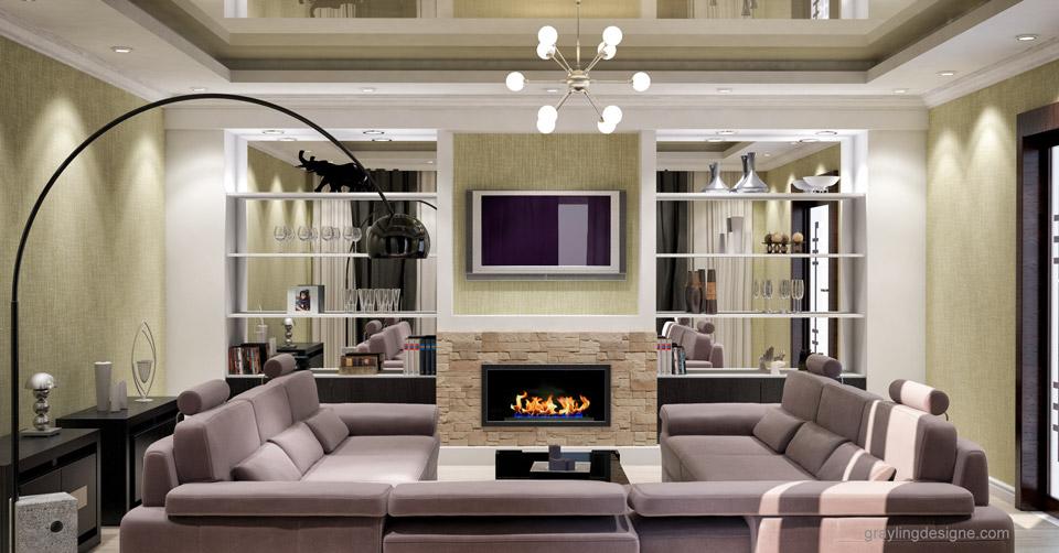 Дизайн проект гостинной комнаты двухкомнатной квартиры. Вид 1