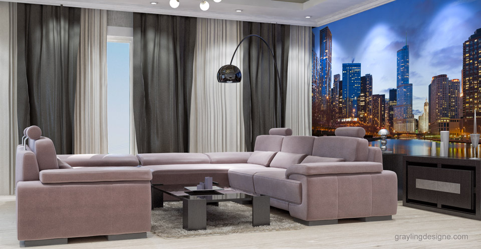 Дизайн проект гостинной комнаты двухкомнатной квартиры. Вид 2