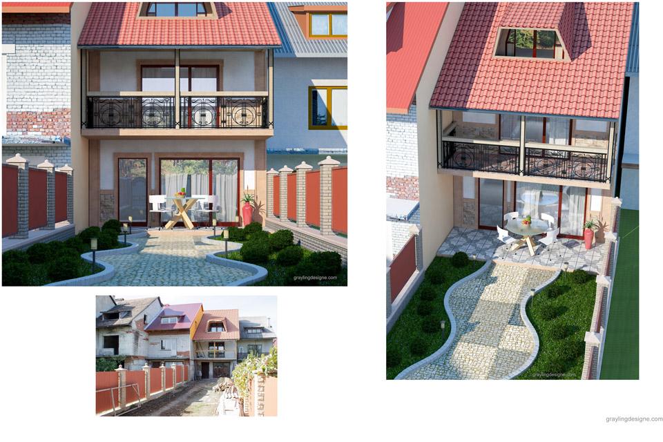 Проект фасада и обустройства двора.