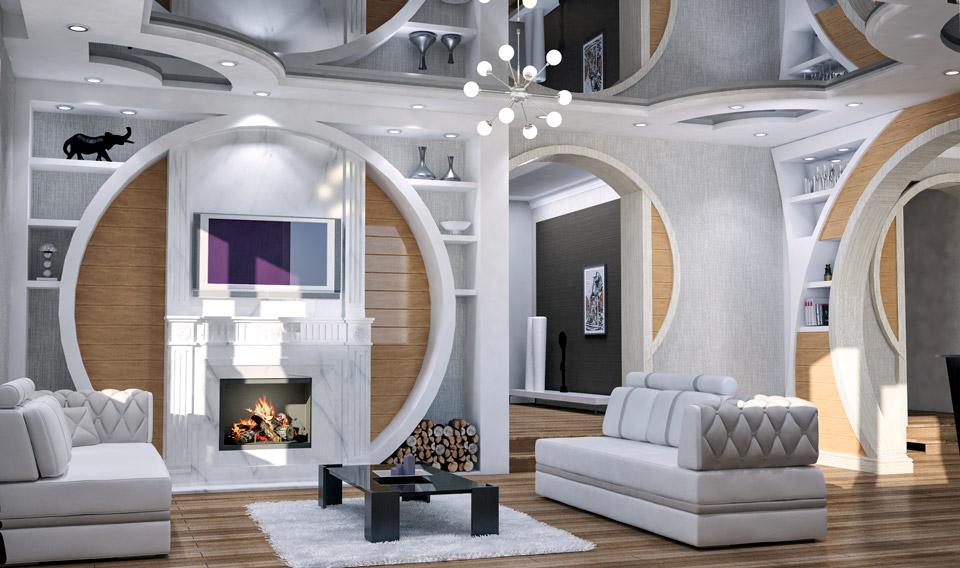 Дизайн проект гостинной с камином.