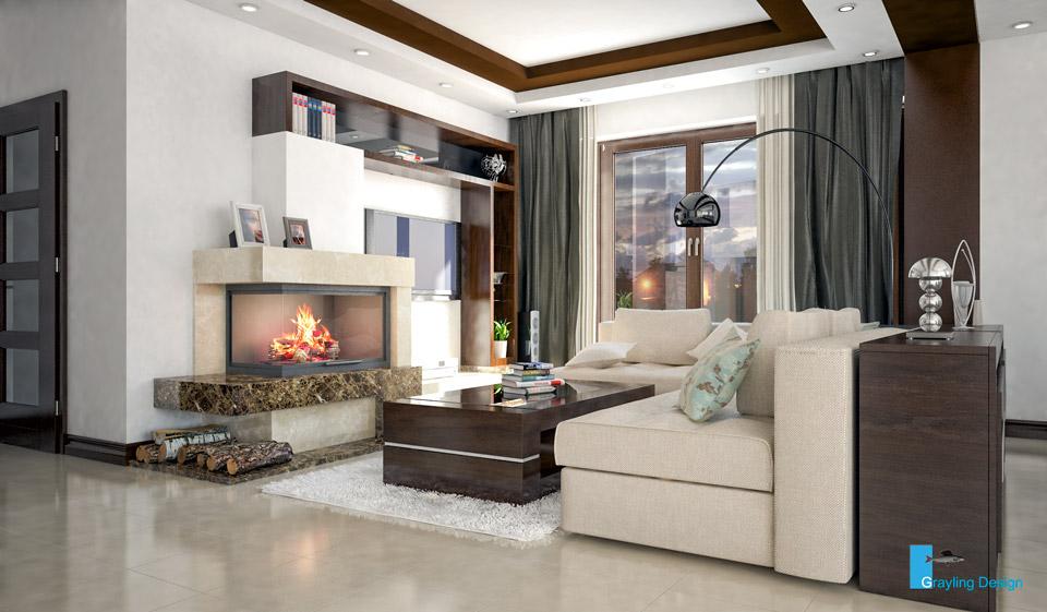 Дизайн-проект гостиной комнаты. Вид-01.