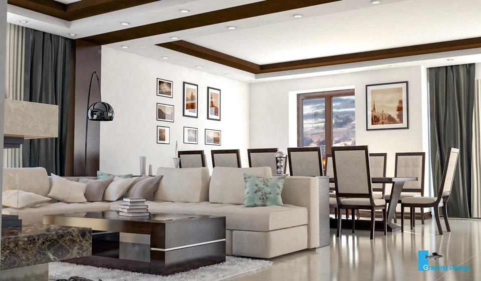 Дизайн-проект гостиной комнаты. Вид-02.