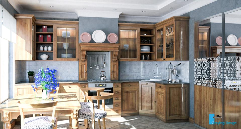 Дизайн проект интерьера кухни. Вид-01.