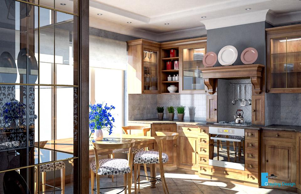 Дизайн проект интерьера кухни. Вид-02.