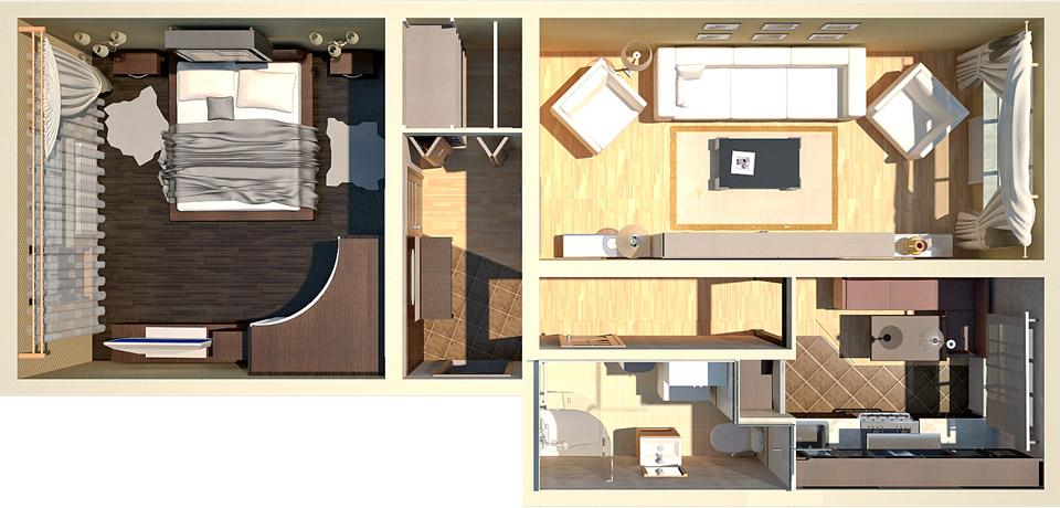Проекты двухкомнатных квартир фото