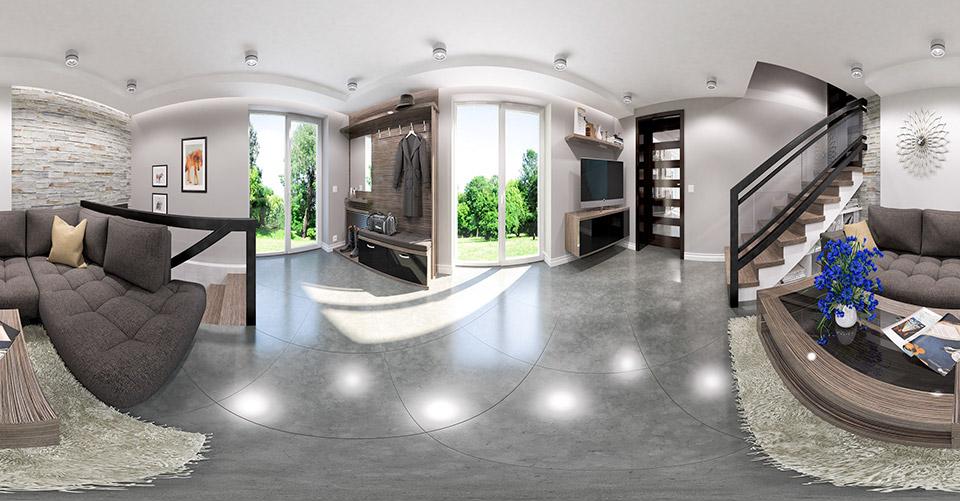 Дизайн-проект интерьера цокольного этажа коттеджа. Панорама