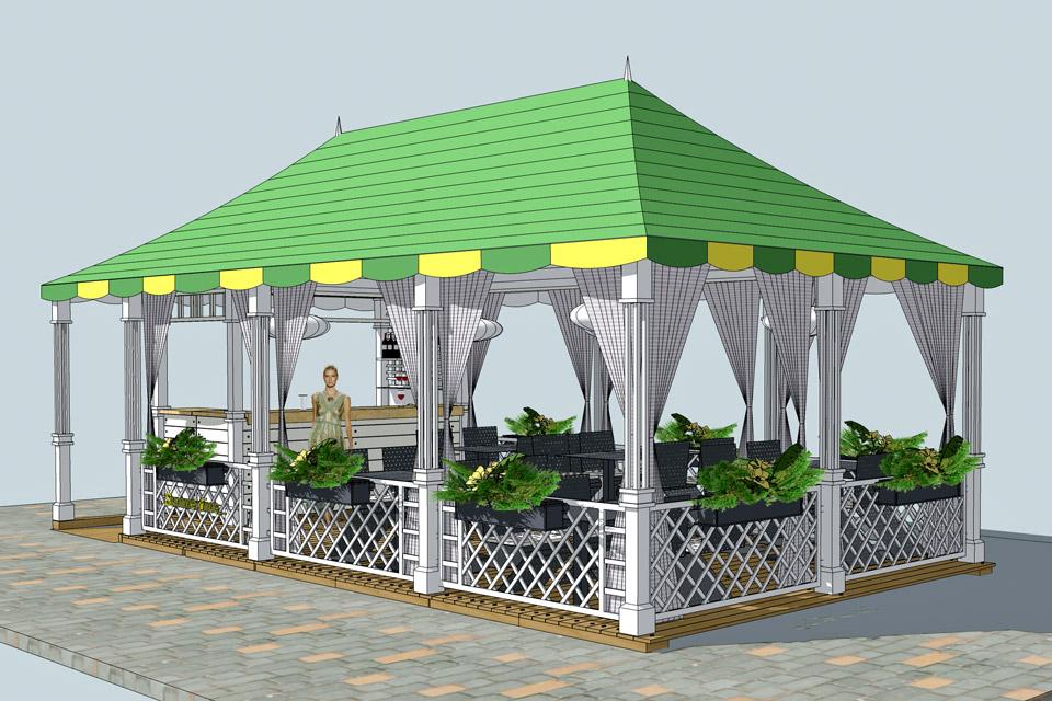 Проект летней террасы для санатория «Квитка Полонины»