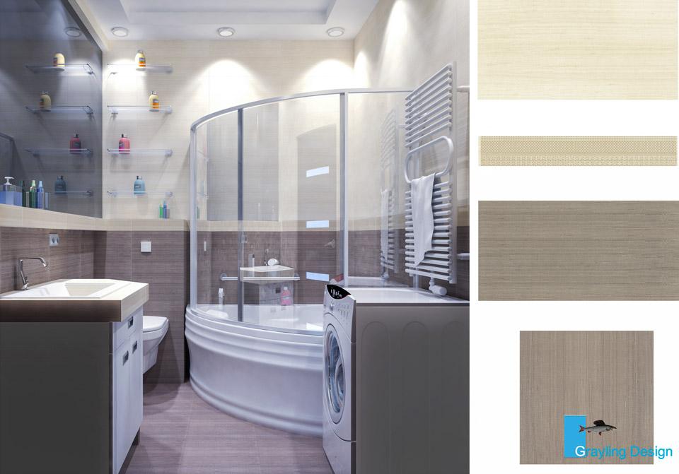 Дизайн проект ванной комнаты.
