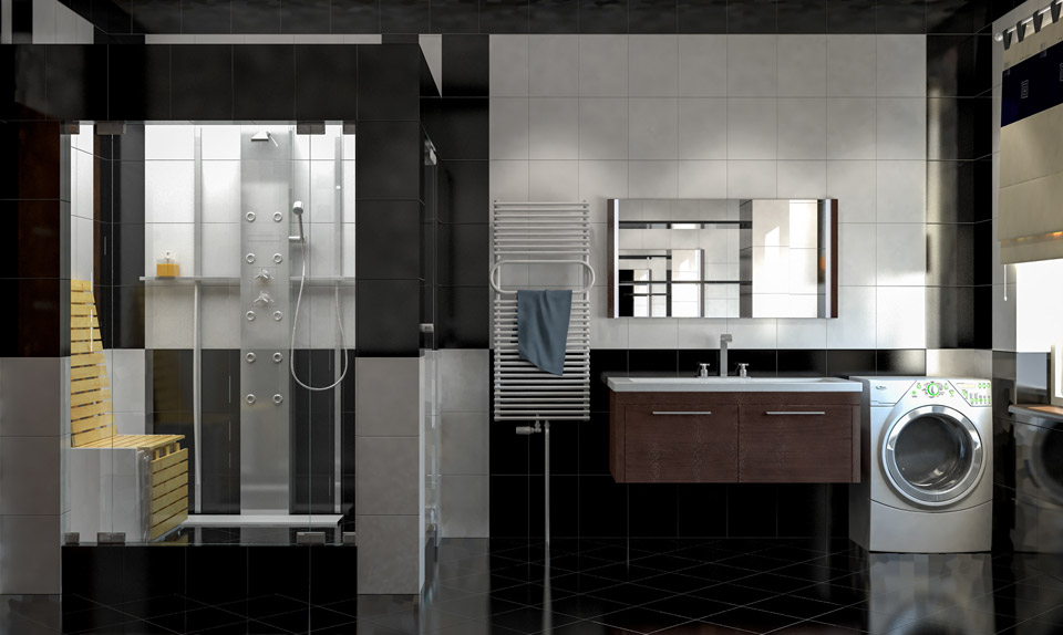 Дизайн проект ванной комнаты. Вид 1