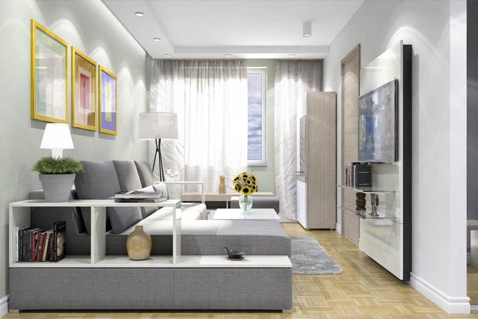 Визуализация гостиной комнаты. Вид 1