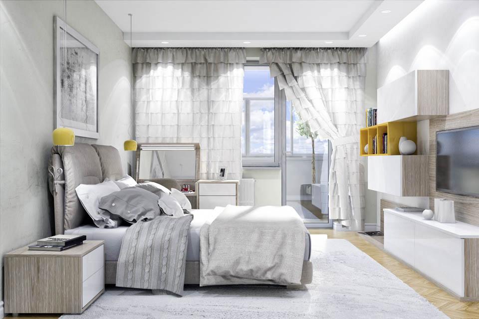 Визуализация интерьера спальной комнаты. Вид 1