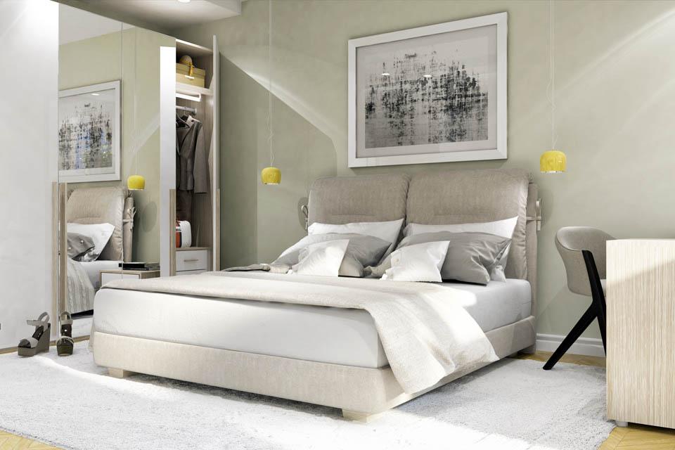 Визуализация интерьера спальной комнаты. Вид 2