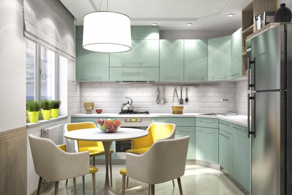 Визуализация интерьера кухни. Вид 1