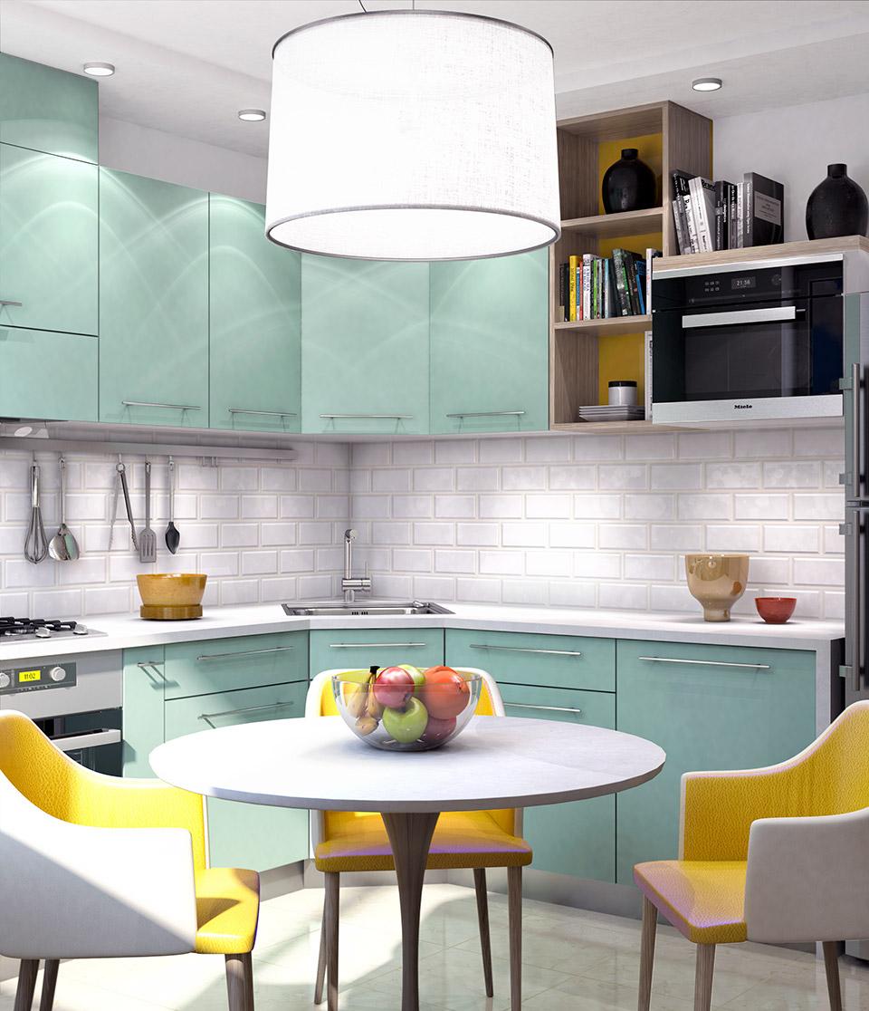 Визуализация интерьера кухни. Вид 2