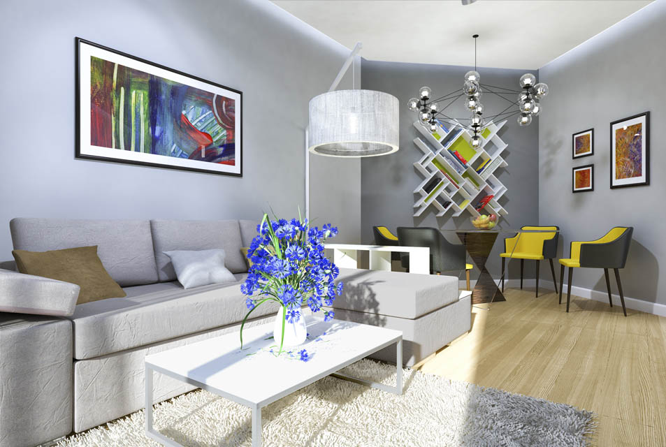 Визуализация гостиной комнаты. Вид 2
