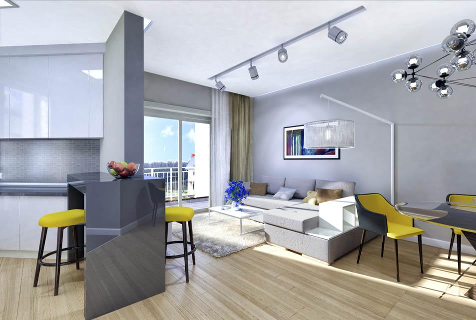 Визуализация гостиной комнаты. Вид 4
