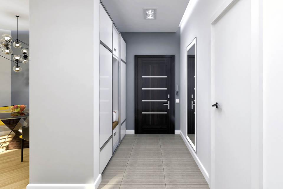 Визуализация интерьера коридора.