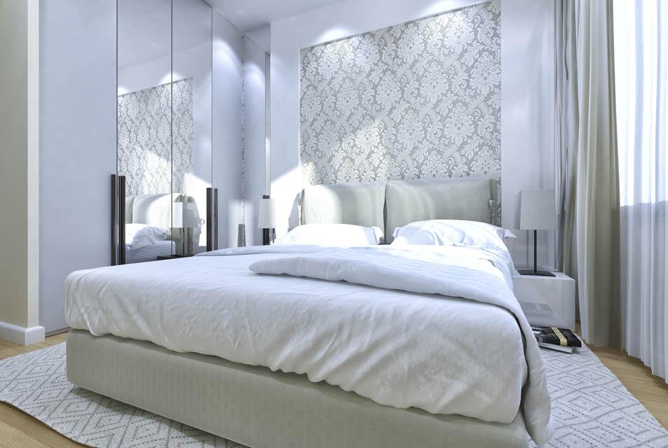 Визуализация интерьера спальной комнаты.