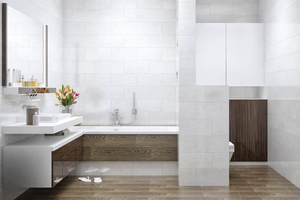 Визуализация интерьера ванной комнаты. Вид 1