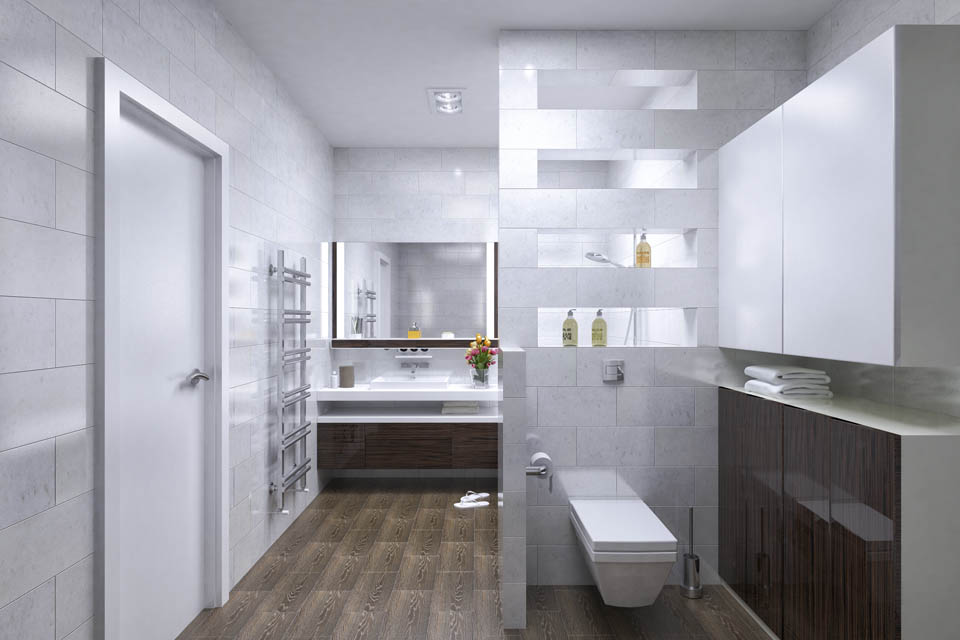 Визуализация интерьера ванной комнаты. Вид 2