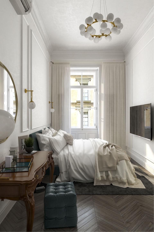 Дизайн проект інтер'єру спальної кімнати. Вид-01