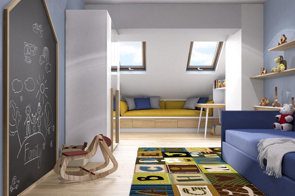 Дизайн проект інтер'єру дитячої кімнати. Вид-01