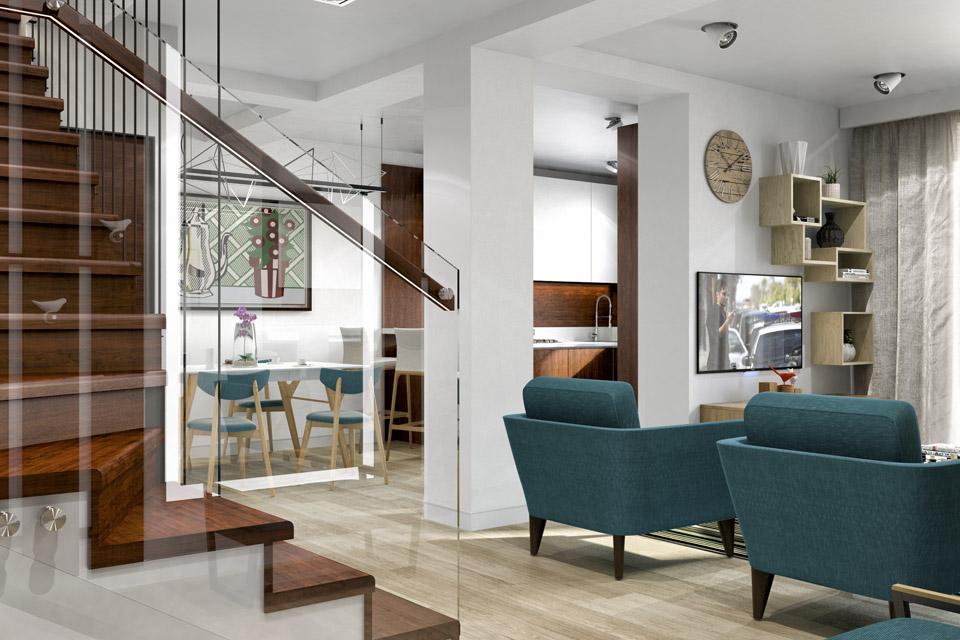 Дизайн проект інтер'єру кухні-вітальні. Вид-01