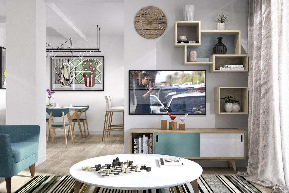 Дизайн проект інтер'єру кухні-вітальні. Вид-03