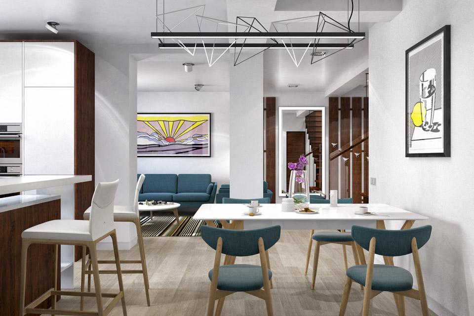 Дизайн проект інтер'єру кухні-вітальні. Вид-04
