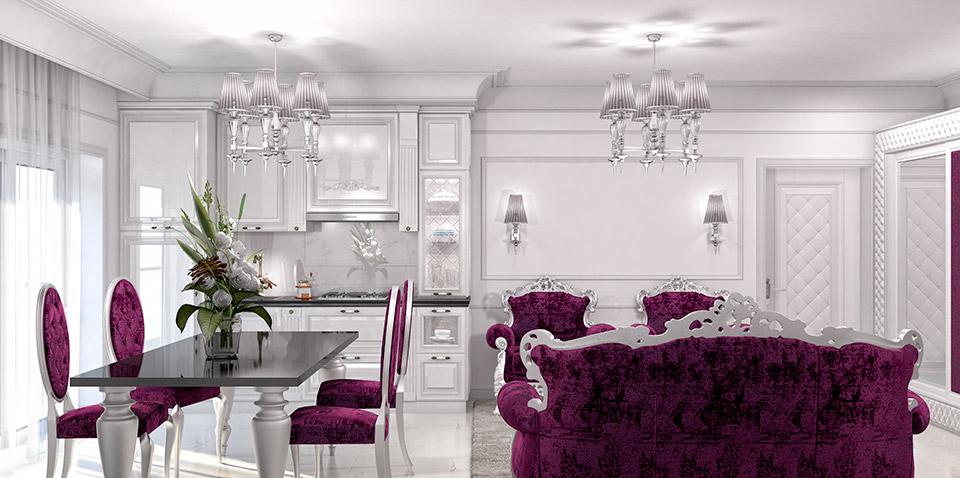 Визуализация интерьера гостиной комнаты. Вид 1