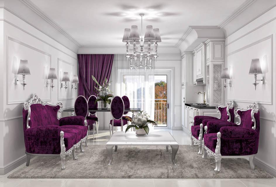 Визуализация интерьера гостиной комнаты. Вид 2