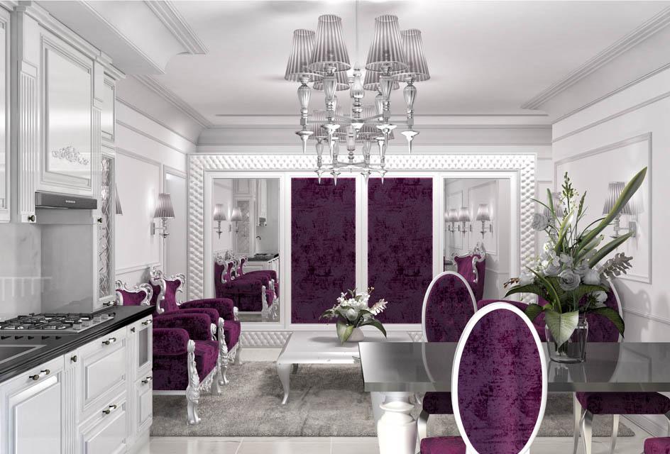 Визуализация интерьера гостиной комнаты. Вид 3