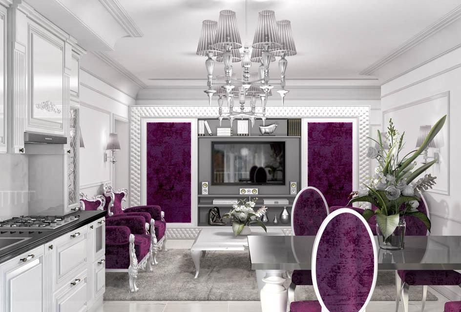 Визуализация интерьера гостиной комнаты. Вид 4