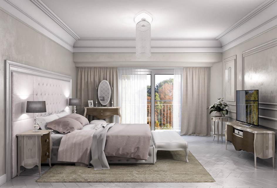 Визуализация интерьера спальной комнаты. Вид 3