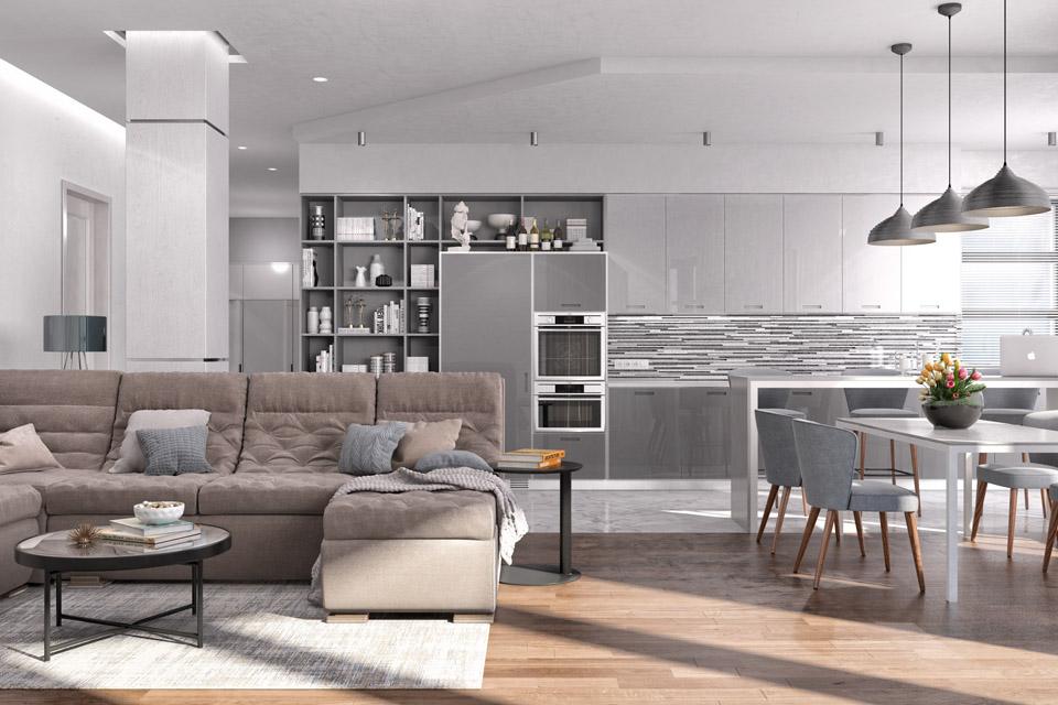 Дизайн проект інтер'єру вітальні. Вид-01