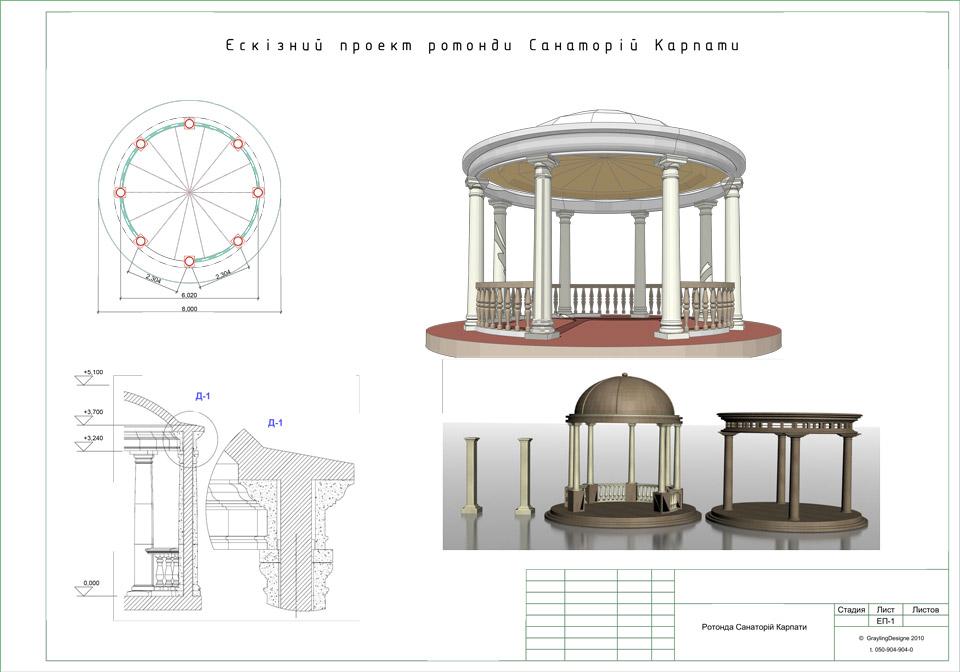Ротонда | Архитектурная студия Grayling Design Ротонда Чертеж