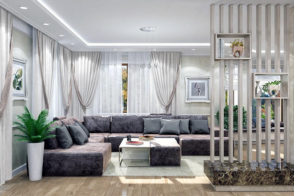 Дизайн-проект интерьера гостиной комнаты. г.Тячев Вид-02