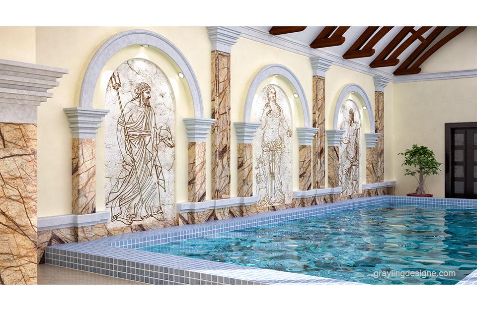 3D моделирование и визуализация бассейна.