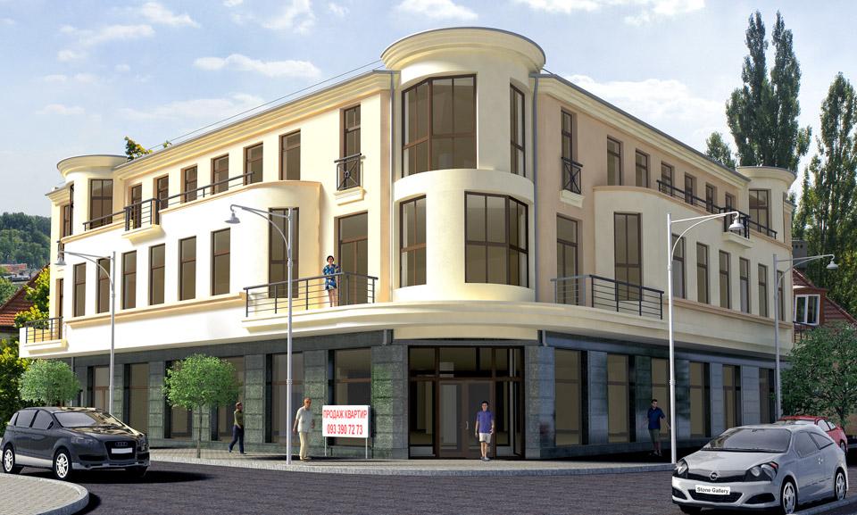 3D моделирование и визуализация фасада торгового центра.