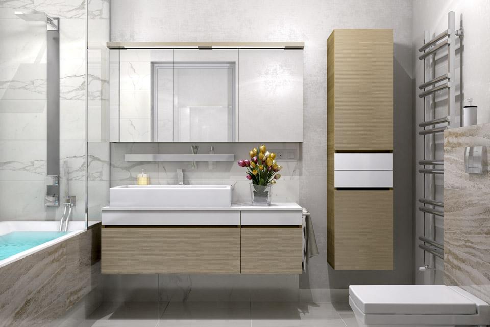 Дизайн проект інтер'єру ванної кімнати. Вид-01