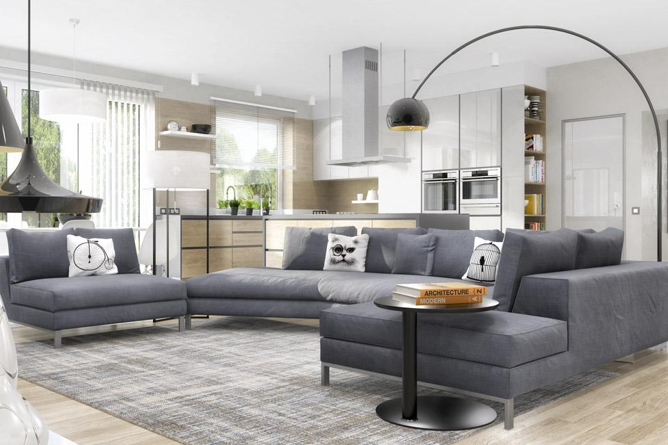 Дизайн проект інтер'єру кухні-вітальні. Вид-02