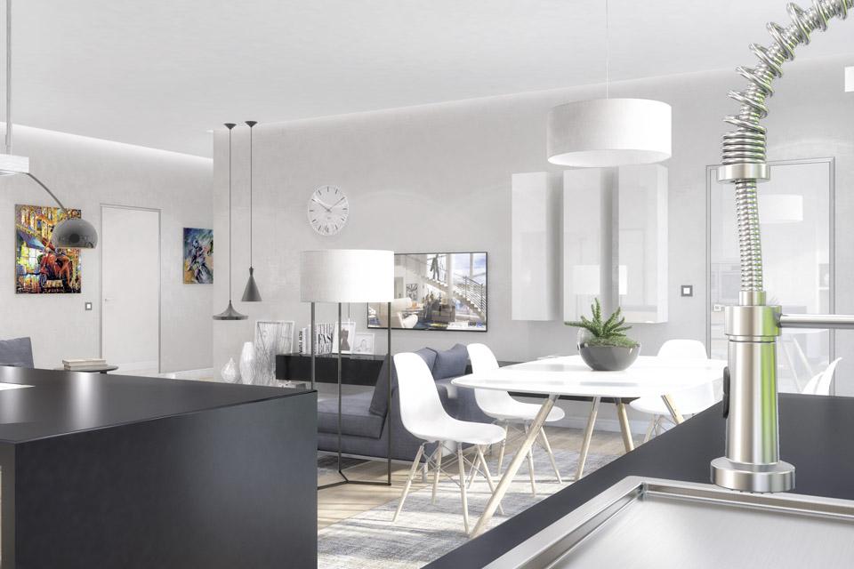 Дизайн проект інтер'єру кухні-вітальні. Вид-05