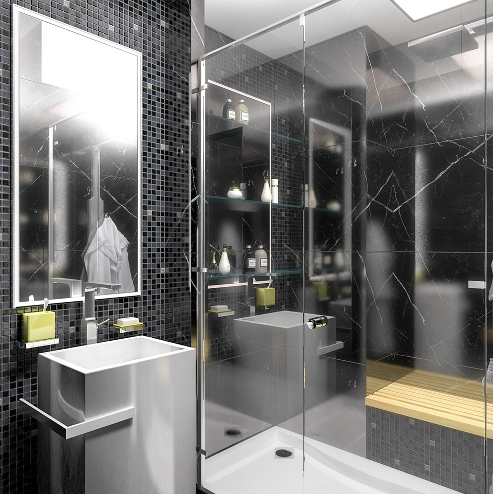 Дизайн проект інтер'єру ванної кімнати. Вид-06