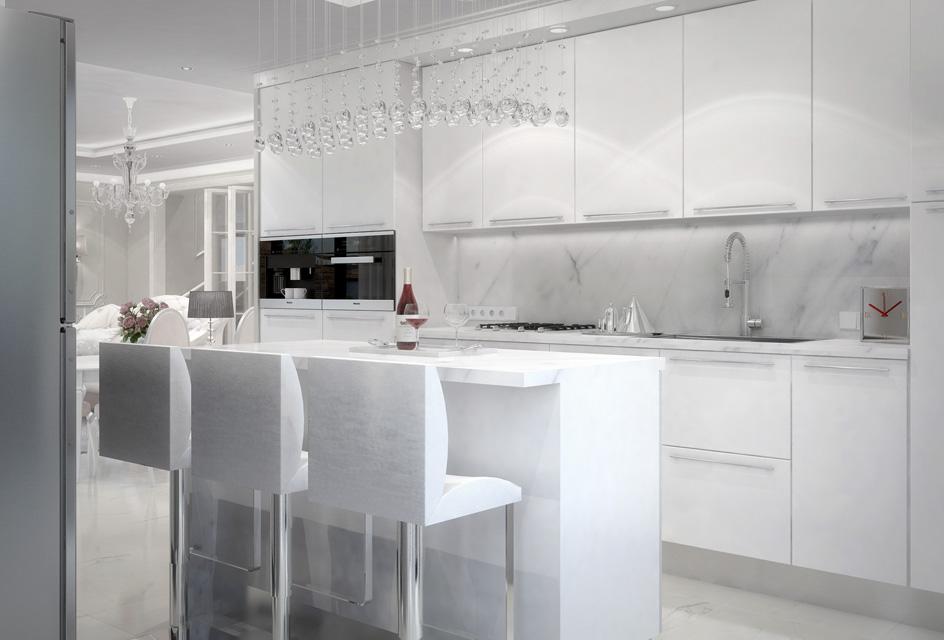 Дизайн проект інтер'єру кухні-вітальні. Вид-07
